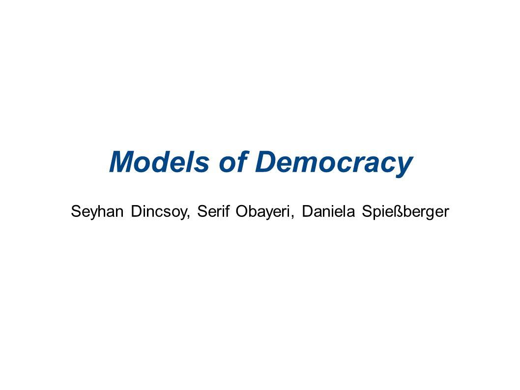 Deliberative Demokratie II Vernunft und Beteiligung Öffentlichkeit Über Kommunikation Beratung über Politik Versammlungen Medienöffenlichkeit Maßstab ist Autonomie und Selbstentfaltung des Individuums -> Herrschaftsfreiheit