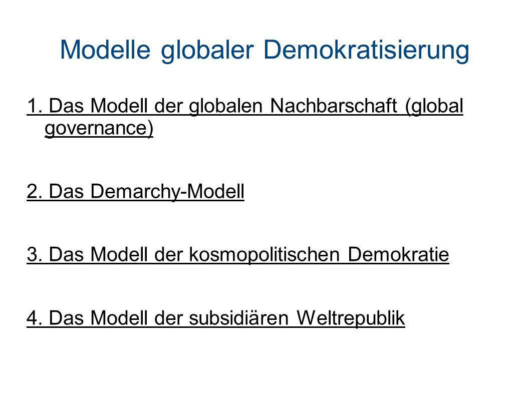 Modelle globaler Demokratisierung 1.Das Modell der globalen Nachbarschaft (global governance) 2.
