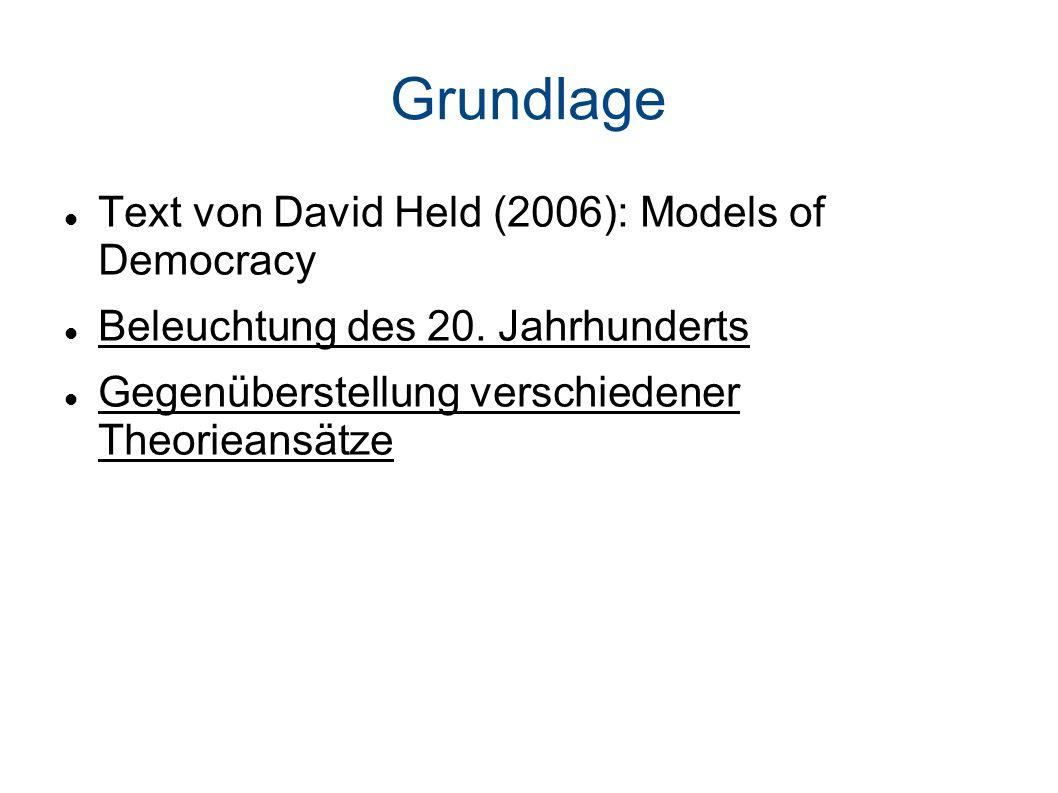 Grundlage Text von David Held (2006): Models of Democracy Beleuchtung des 20.