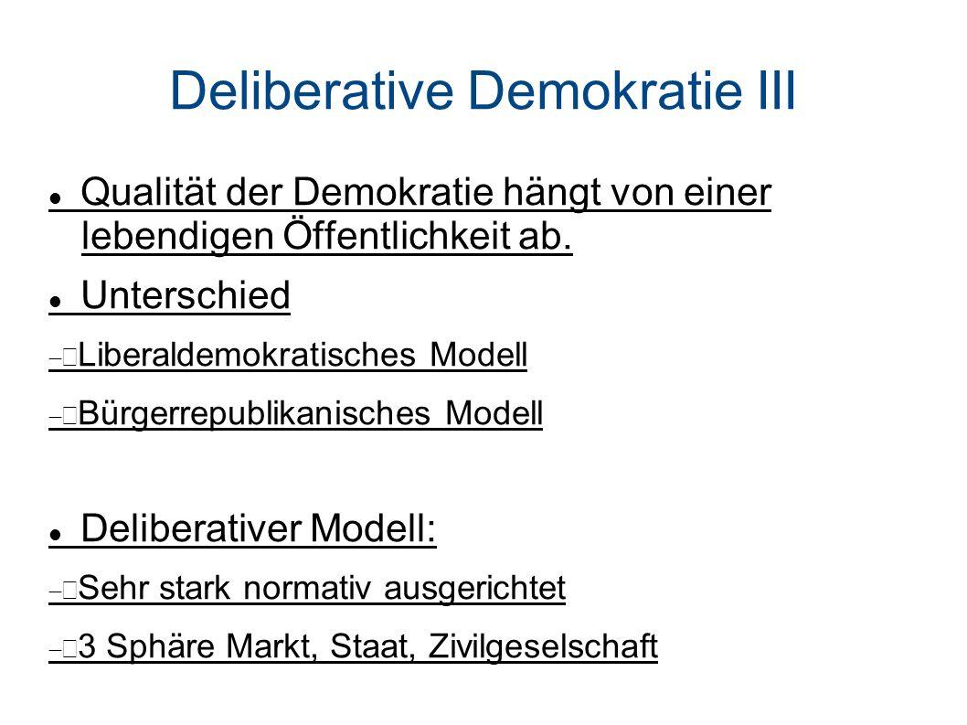 Deliberative Demokratie III Qualität der Demokratie hängt von einer lebendigen Öffentlichkeit ab.