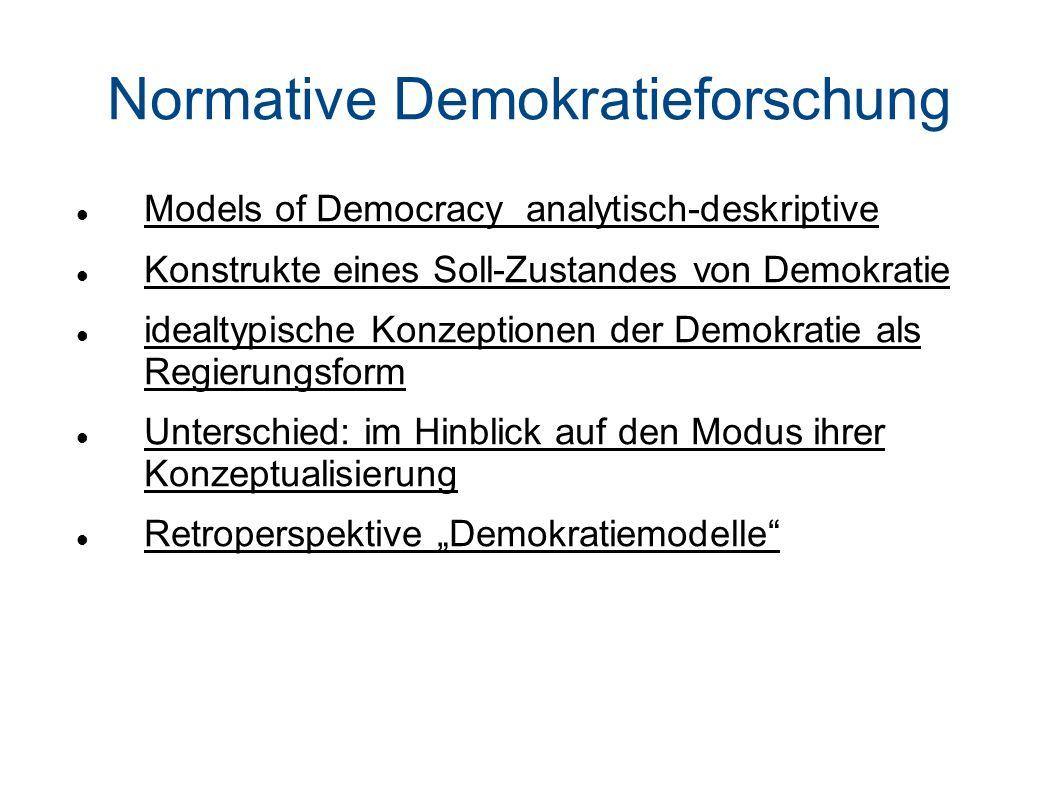Normative Demokratieforschung Models of Democracy analytisch-deskriptive Konstrukte eines Soll-Zustandes von Demokratie idealtypische Konzeptionen der Demokratie als Regierungsform Unterschied: im Hinblick auf den Modus ihrer Konzeptualisierung Retroperspektive Demokratiemodelle