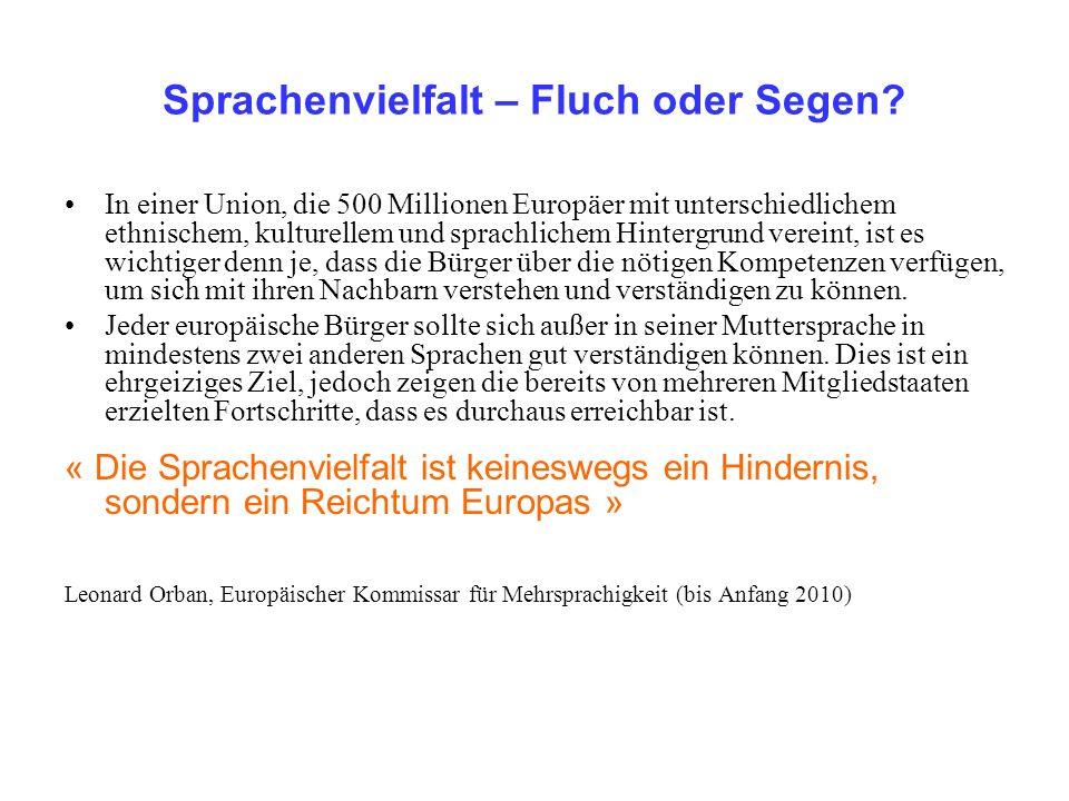 Sprachenvielfalt – Fluch oder Segen? In einer Union, die 500 Millionen Europäer mit unterschiedlichem ethnischem, kulturellem und sprachlichem Hinterg