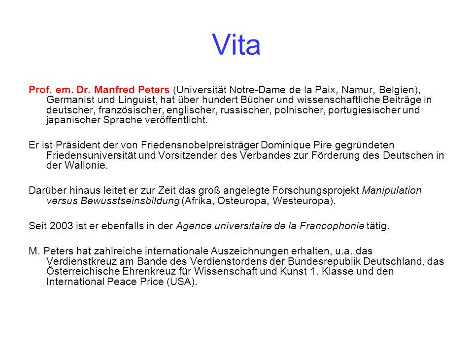 Vita Prof. em. Dr. Manfred Peters (Universität Notre-Dame de la Paix, Namur, Belgien), Germanist und Linguist, hat über hundert Bücher und wissenschaf