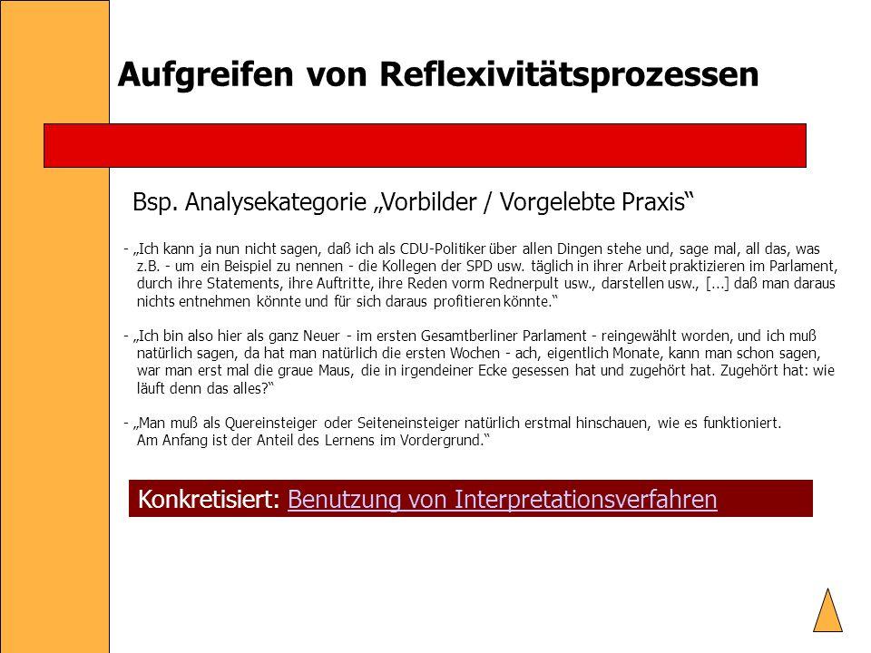 Aufgreifen von Reflexivitätsprozessen Bsp.