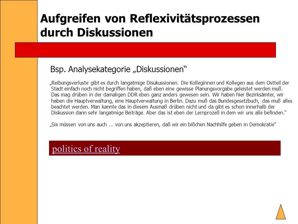 Aufgreifen von Reflexivitätsprozessen durch Diskussionen Bsp.