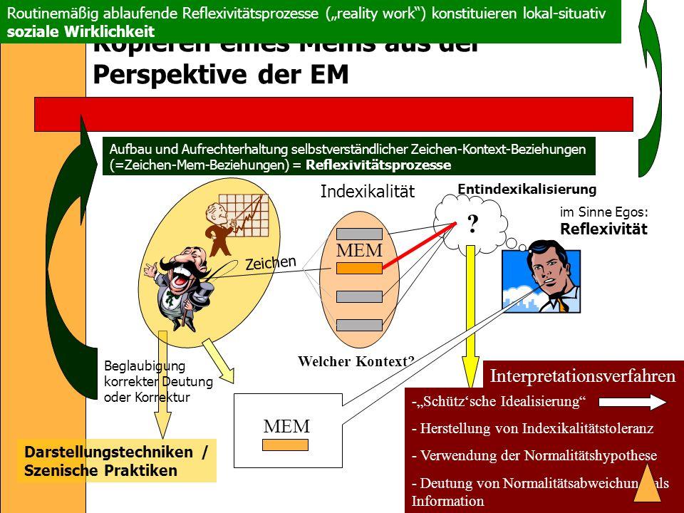 Kopieren eines Mems aus der Perspektive der EM MEM Zeichen Indexikalität .