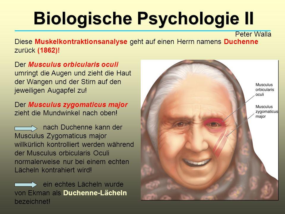 Biologische Psychologie II Peter Walla Diese Muskelkontraktionsanalyse geht auf einen Herrn namens Duchenne zurück (1862)! Der Musculus orbicularis oc