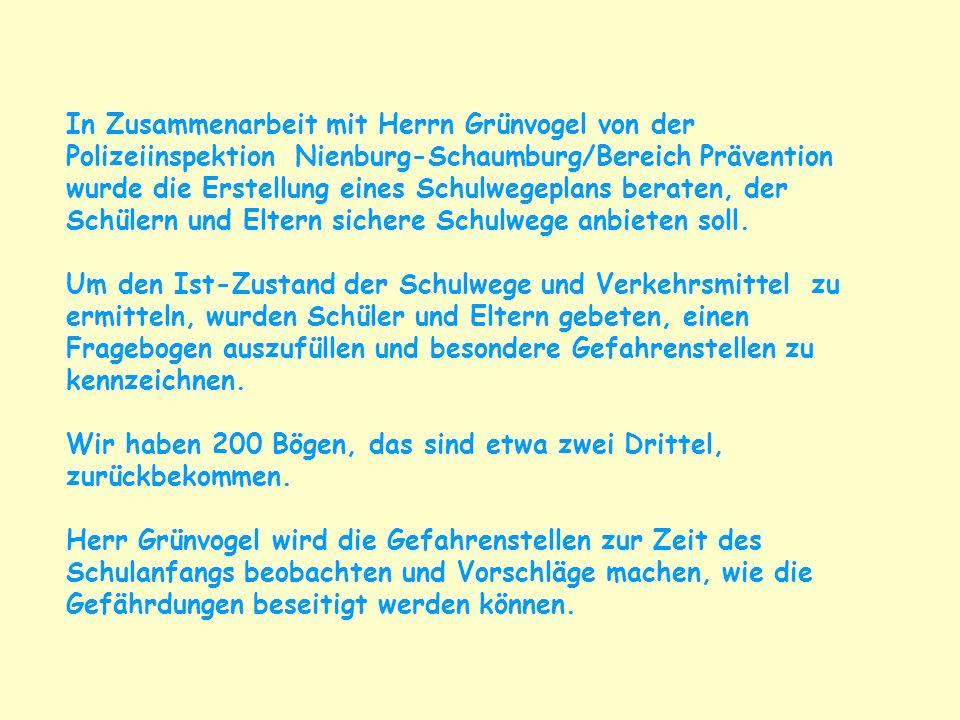 In Zusammenarbeit mit Herrn Grünvogel von der Polizeiinspektion Nienburg-Schaumburg/Bereich Prävention wurde die Erstellung eines Schulwegeplans berat