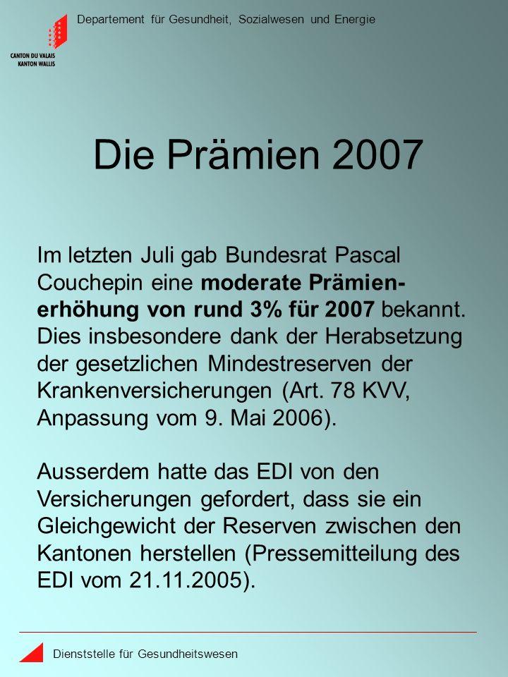 Departement für Gesundheit, Sozialwesen und Energie Dienststelle für Gesundheitswesen Die Prämien 2007 Im letzten Juli gab Bundesrat Pascal Couchepin eine moderate Prämien- erhöhung von rund 3% für 2007 bekannt.