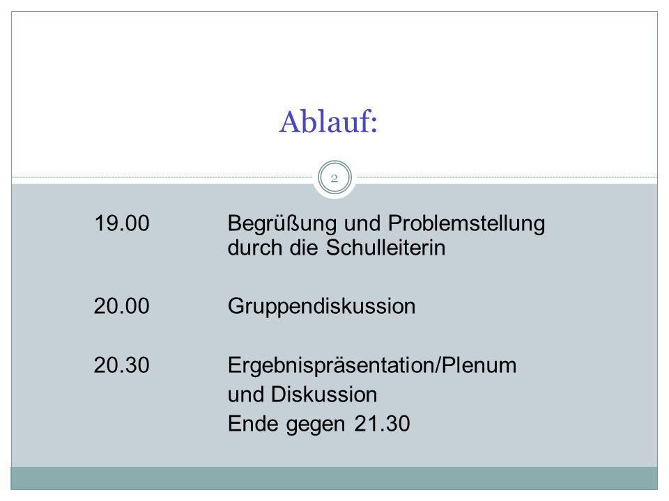 2 Ablauf: 19.00Begrüßung und Problemstellung durch die Schulleiterin 20.00 Gruppendiskussion 20.30Ergebnispräsentation/Plenum und Diskussion Ende gegen 21.30