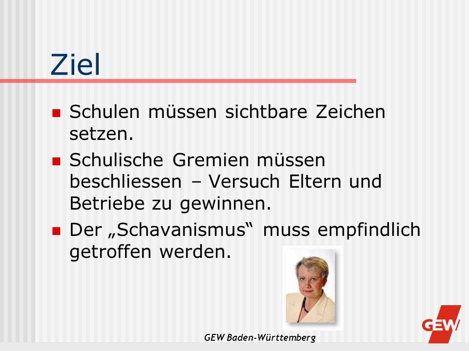 GEW Baden-Württemberg Ziel Schulen müssen sichtbare Zeichen setzen. Schulische Gremien müssen beschliessen – Versuch Eltern und Betriebe zu gewinnen.