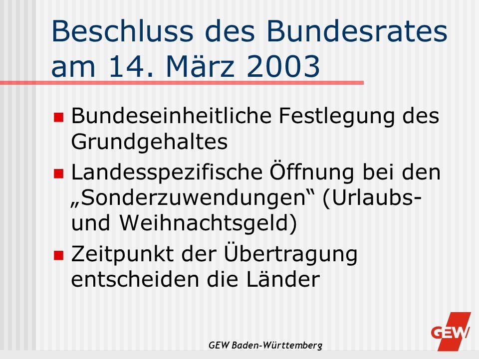 GEW Baden-Württemberg Beschluss des Bundesrates am 14. März 2003 Bundeseinheitliche Festlegung des Grundgehaltes Landesspezifische Öffnung bei den Son