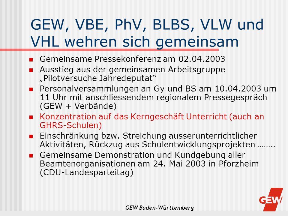 GEW Baden-Württemberg GEW, VBE, PhV, BLBS, VLW und VHL wehren sich gemeinsam Gemeinsame Pressekonferenz am 02.04.2003 Ausstieg aus der gemeinsamen Arb