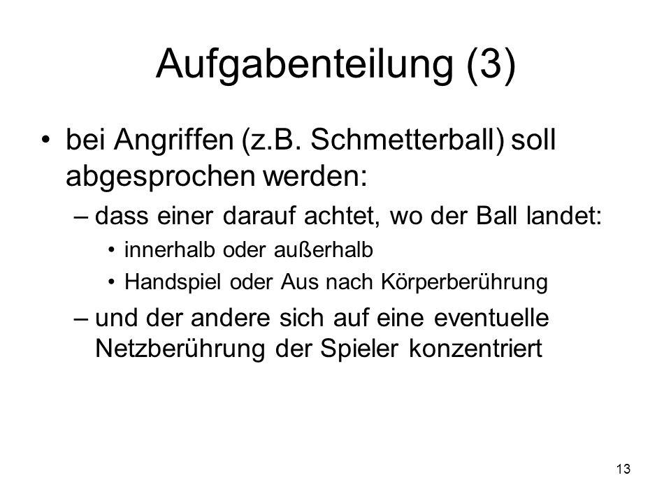 13 Aufgabenteilung (3) bei Angriffen (z.B. Schmetterball) soll abgesprochen werden: –dass einer darauf achtet, wo der Ball landet: innerhalb oder auße