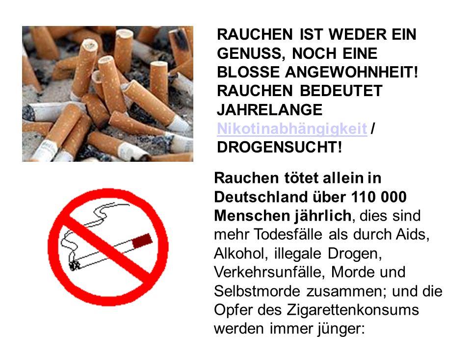 RAUCHEN IST WEDER EIN GENUSS, NOCH EINE BLOSSE ANGEWOHNHEIT! RAUCHEN BEDEUTET JAHRELANGE Nikotinabhängigkeit / DROGENSUCHT! Nikotinabhängigkeit Rauche