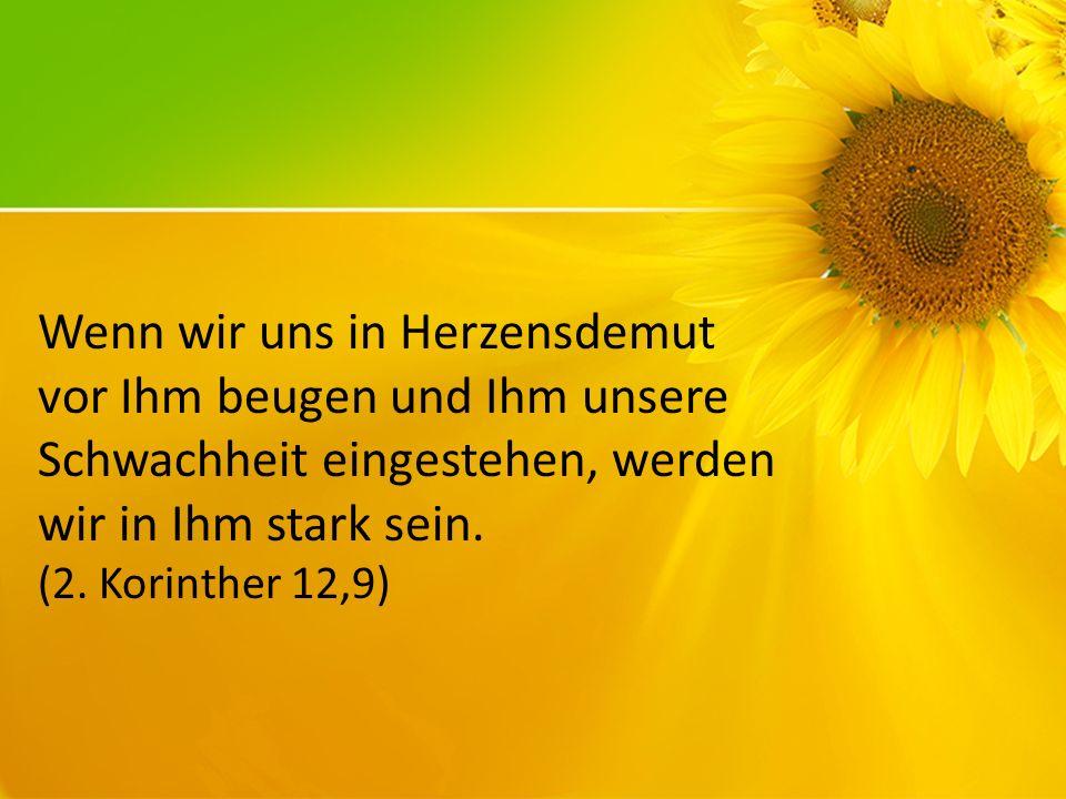 Wenn wir uns in Herzensdemut vor Ihm beugen und Ihm unsere Schwachheit eingestehen, werden wir in Ihm stark sein. (2. Korinther 12,9)