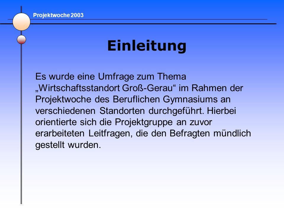 Einleitung Es wurde eine Umfrage zum Thema Wirtschaftsstandort Groß-Gerau im Rahmen der Projektwoche des Beruflichen Gymnasiums an verschiedenen Stand