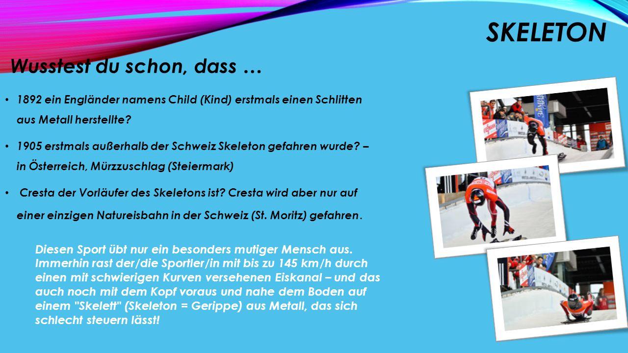 BOBSPORT Wusstest du schon, dass … der Sport von Engländern in der Schweiz entwickelt wurde.