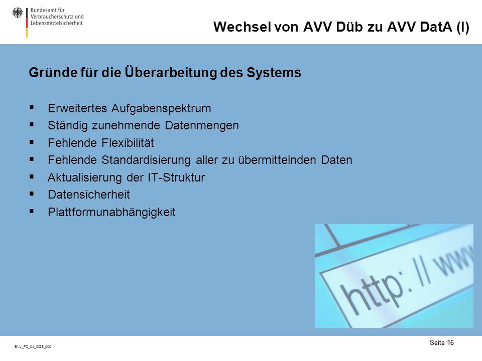 Seite 16 BVL_FO_04_0035_000 Wechsel von AVV Düb zu AVV DatA (I) Gründe für die Überarbeitung des Systems Erweitertes Aufgabenspektrum Ständig zunehmende Datenmengen Fehlende Flexibilität Fehlende Standardisierung aller zu übermittelnden Daten Aktualisierung der IT-Struktur Datensicherheit Plattformunabhängigkeit Seite 16