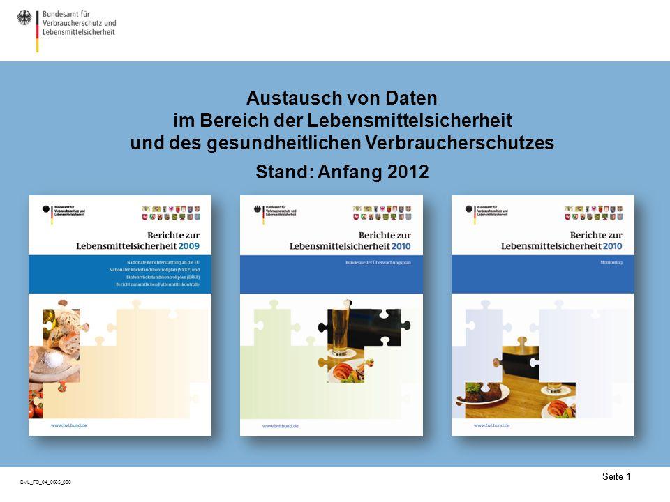 Seite 1 BVL_FO_04_0035_000 Seite 1 Austausch von Daten im Bereich der Lebensmittelsicherheit und des gesundheitlichen Verbraucherschutzes Stand: Anfang 2012