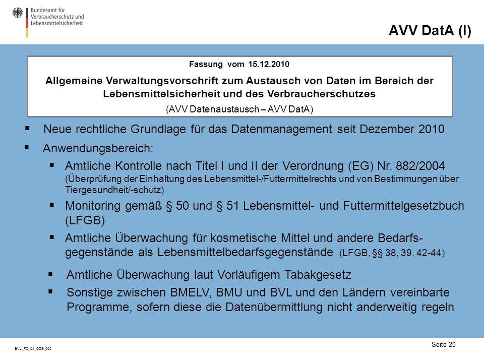 Seite 20 BVL_FO_04_0035_000 AVV DatA (I) Neue rechtliche Grundlage für das Datenmanagement seit Dezember 2010 Seite 20 Anwendungsbereich: Amtliche Kontrolle nach Titel I und II der Verordnung (EG) Nr.