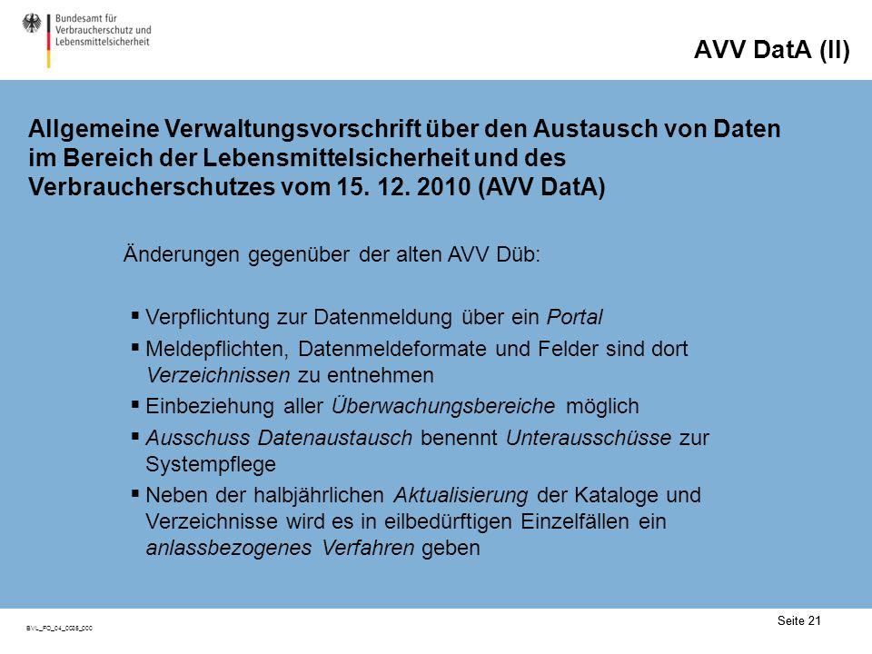 Seite 21 BVL_FO_04_0035_000 Seite 21 Änderungen gegenüber der alten AVV Düb: Verpflichtung zur Datenmeldung über ein Portal Meldepflichten, Datenmelde
