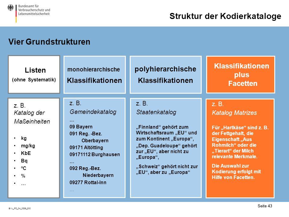 Seite 43 BVL_FO_04_0035_000 Seite 43 Struktur der Kodierkataloge Vier Grundstrukturen z.