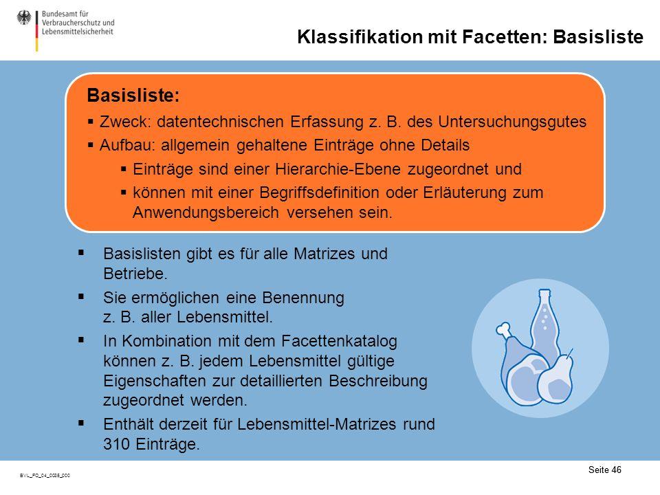 Seite 46 BVL_FO_04_0035_000 Seite 46 Klassifikation mit Facetten: Basisliste Basislisten gibt es für alle Matrizes und Betriebe.