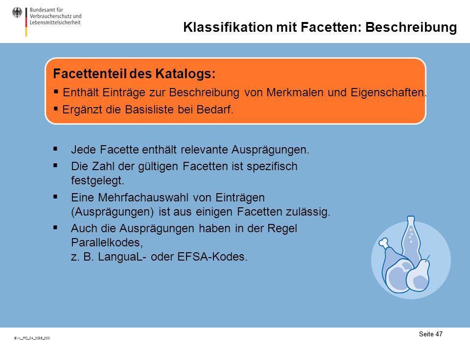 Seite 47 BVL_FO_04_0035_000 Seite 47 Klassifikation mit Facetten: Beschreibung Facettenteil des Katalogs: Enthält Einträge zur Beschreibung von Merkmalen und Eigenschaften.
