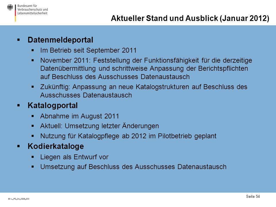 Seite 54 BVL_FO_04_0035_000 Aktueller Stand und Ausblick (Januar 2012) Datenmeldeportal Im Betrieb seit September 2011 November 2011: Feststellung der