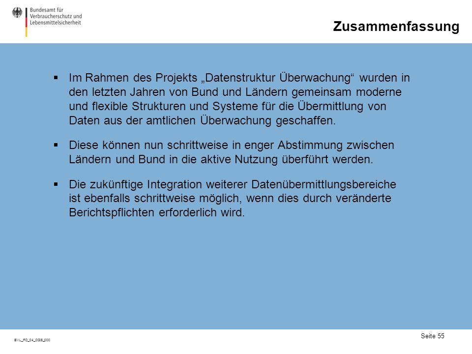 Seite 55 BVL_FO_04_0035_000 Zusammenfassung Im Rahmen des Projekts Datenstruktur Überwachung wurden in den letzten Jahren von Bund und Ländern gemeins