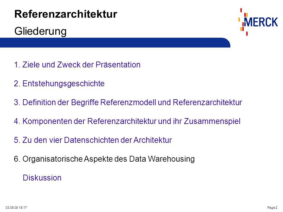 03.09.08 18:17Page 2 Referenzarchitektur Gliederung 1. Ziele und Zweck der Präsentation 2. Entstehungsgeschichte 3. Definition der Begriffe Referenzmo