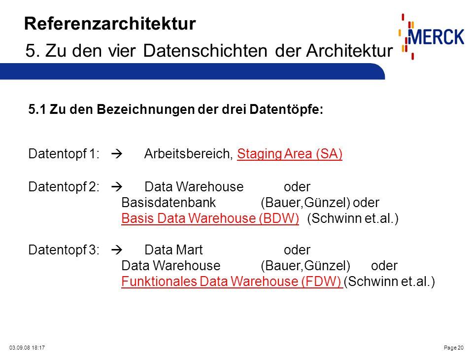 03.09.08 18:17Page 20 5.1 Zu den Bezeichnungen der drei Datentöpfe: Datentopf 1: Arbeitsbereich, Staging Area (SA) Datentopf 2: Data Warehouse oder Basisdatenbank (Bauer,Günzel) oder Basis Data Warehouse (BDW)(Schwinn et.al.) Datentopf 3: Data Mart oder Data Warehouse (Bauer,Günzel) oder Funktionales Data Warehouse (FDW) (Schwinn et.al.) Referenzarchitektur 5.