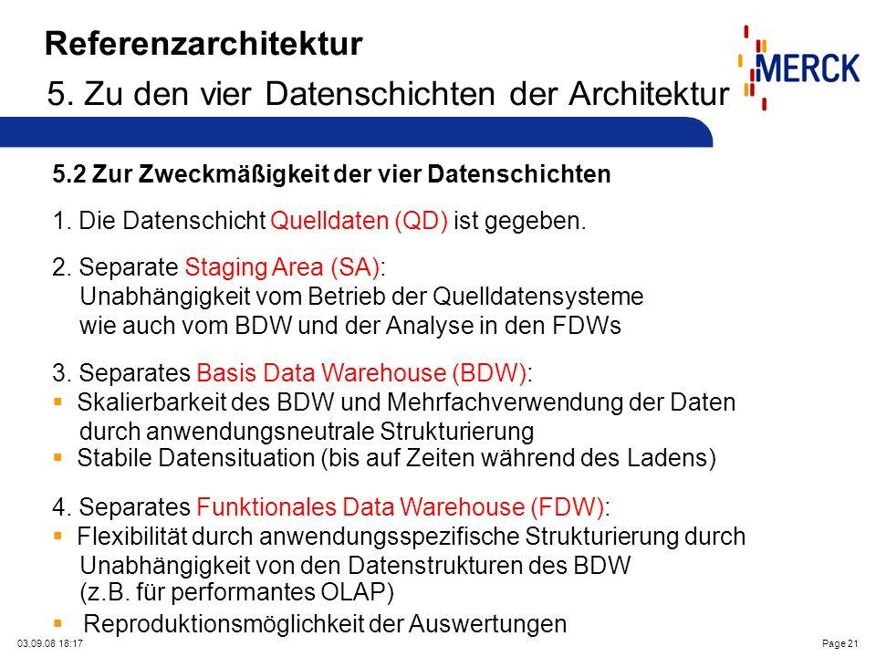 03.09.08 18:17Page 21 Referenzarchitektur 5. Zu den vier Datenschichten der Architektur 5.2 Zur Zweckmäßigkeit der vier Datenschichten 1. Die Datensch