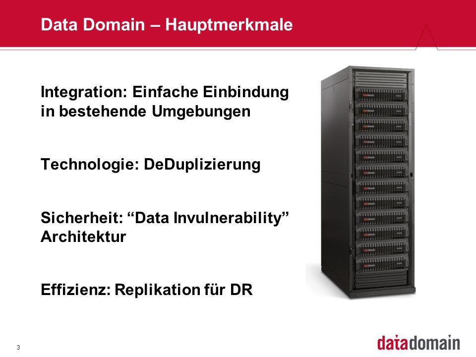 3 Data Domain – Hauptmerkmale Integration: Einfache Einbindung in bestehende Umgebungen Technologie: DeDuplizierung Sicherheit: Data Invulnerability Architektur Effizienz: Replikation für DR