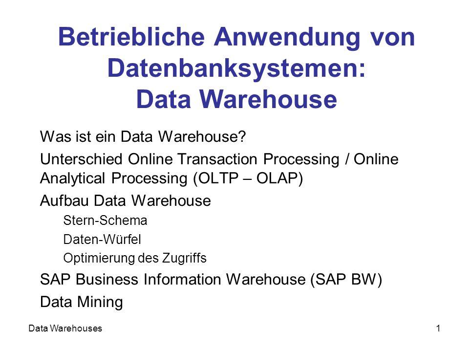 Data Warehouses22 Sehr schnelles LAN ein Datenbank- Server mehrere Applikations- Server zur Skalierung langsame Netzverbindung (WAN, Internet, Telefon,...) sehr viele (Tausende) Clients Dreistufige Client/Server-Architektur (3 Tier, SAP R/3)