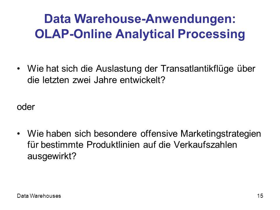 Data Warehouses15 Data Warehouse-Anwendungen: OLAP-Online Analytical Processing Wie hat sich die Auslastung der Transatlantikflüge über die letzten zw