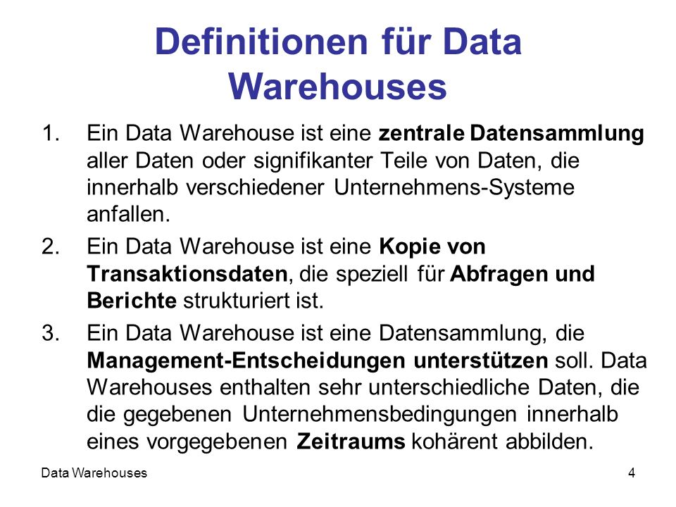 Data Warehouses5 Inmon-Definition: Data Warehouse A data warehouse is a subject-oriented, integrated, nonvolatile, time- variant collection of data in support of managements decision.