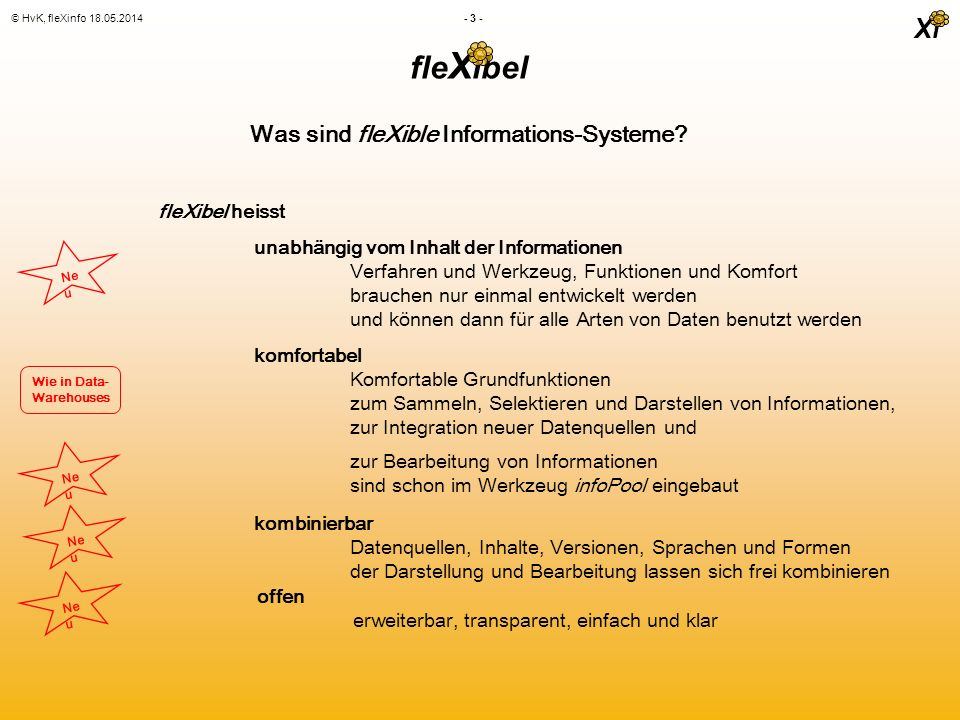Xi © HvK, fleXinfo 18.05.2014 - 3 - fle X ibel fleXibel heisst Was sind fleXible Informations-Systeme.