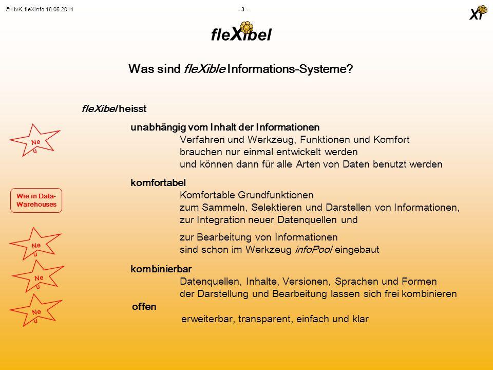 Xi © HvK, fleXinfo 18.05.2014 - 4 - Fokus Synthese Zuordnung Zugang Basis 0 1 2 3 4 1:1 1:1 + Verfahren Multiple Data Integration