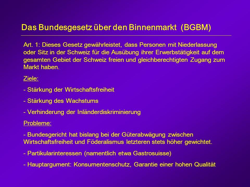 Das Bundesgesetz über den Binnenmarkt (BGBM) Art.