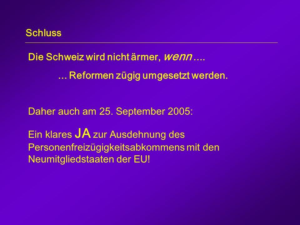 Schluss Die Schweiz wird nicht ärmer, wenn.......Reformen zügig umgesetzt werden.