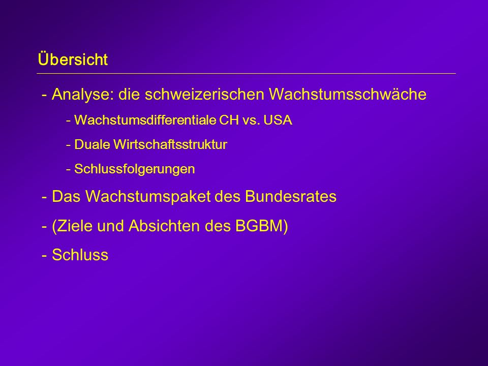- Analyse: die schweizerischen Wachstumsschwäche - Wachstumsdifferentiale CH vs.