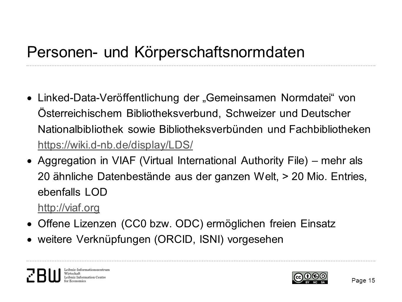 Personen- und Körperschaftsnormdaten Linked-Data-Veröffentlichung der Gemeinsamen Normdatei von Österreichischem Bibliotheksverbund, Schweizer und Deu