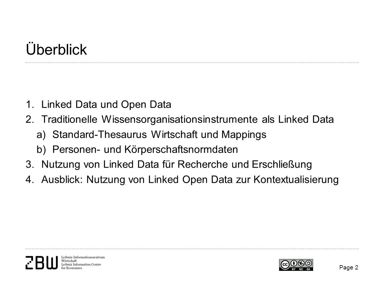 Page 2 Überblick 1.Linked Data und Open Data 2.Traditionelle Wissensorganisationsinstrumente als Linked Data a)Standard-Thesaurus Wirtschaft und Mappi