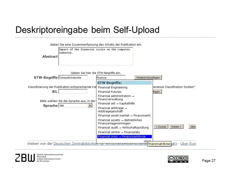 Page 27 Deskriptoreingabe beim Self-Upload
