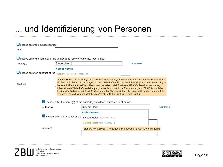 Page 28... und Identifizierung von Personen