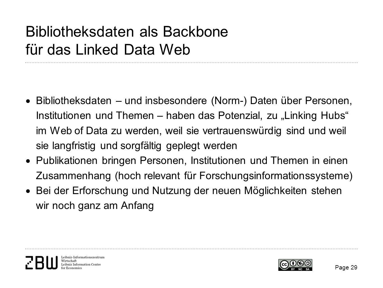 Bibliotheksdaten als Backbone für das Linked Data Web Bibliotheksdaten – und insbesondere (Norm-) Daten über Personen, Institutionen und Themen – habe