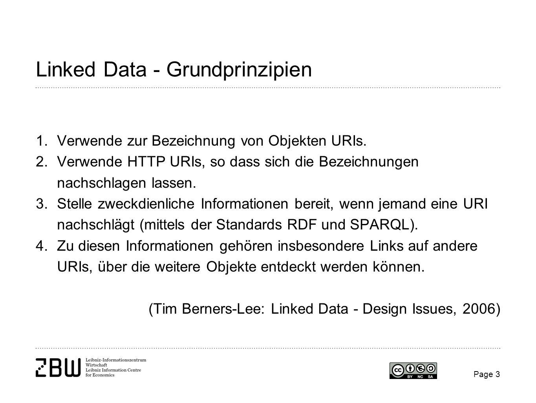 Linked Data - Grundprinzipien 1.Verwende zur Bezeichnung von Objekten URIs. 2.Verwende HTTP URIs, so dass sich die Bezeichnungen nachschlagen lassen.