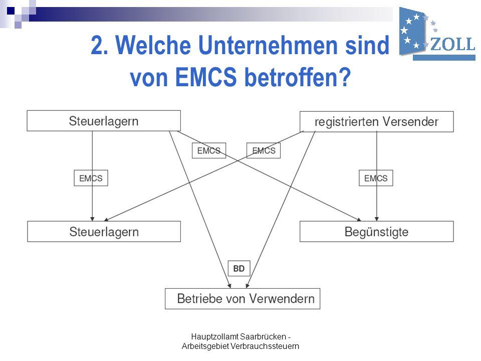 Hauptzollamt Saarbrücken - Arbeitsgebiet Verbrauchssteuern 2. Welche Unternehmen sind von EMCS betroffen?